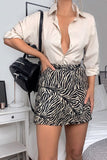 Brown Zebra Print Fit & Flare Mini Skirt