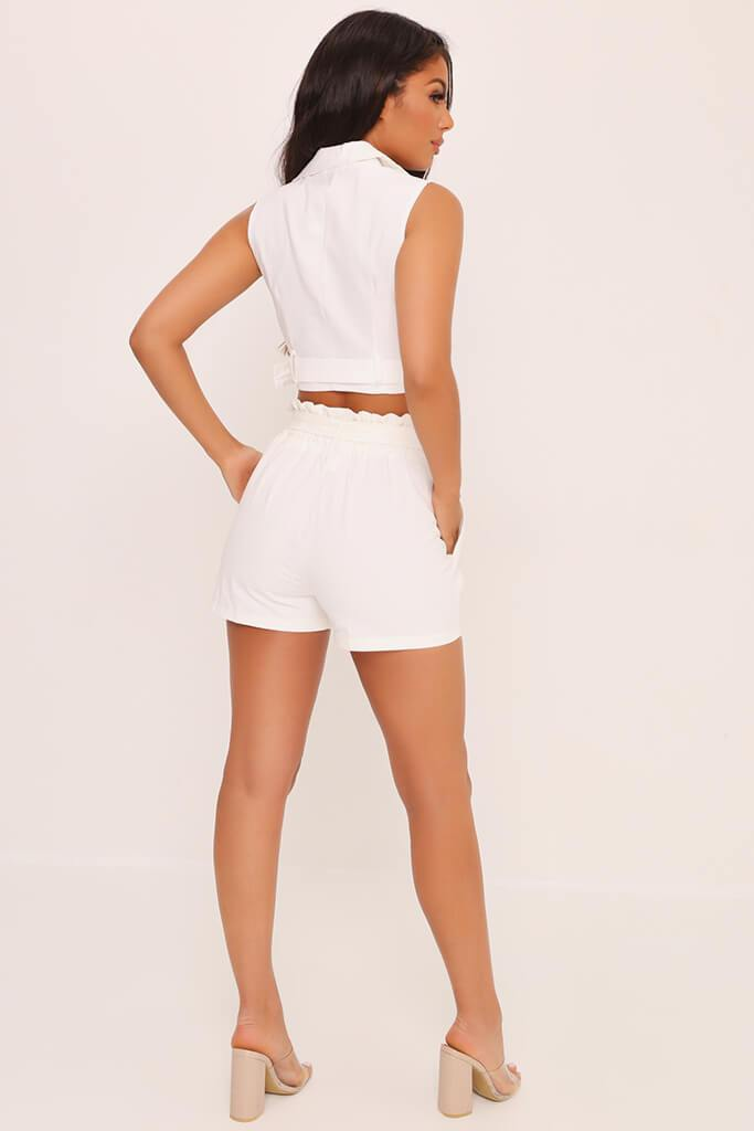 White Button Front Belt Shorts view 5