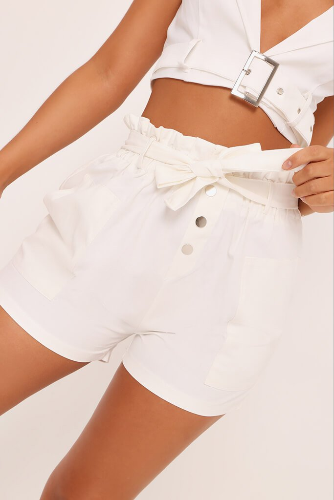 White Button Front Belt Shorts view 4