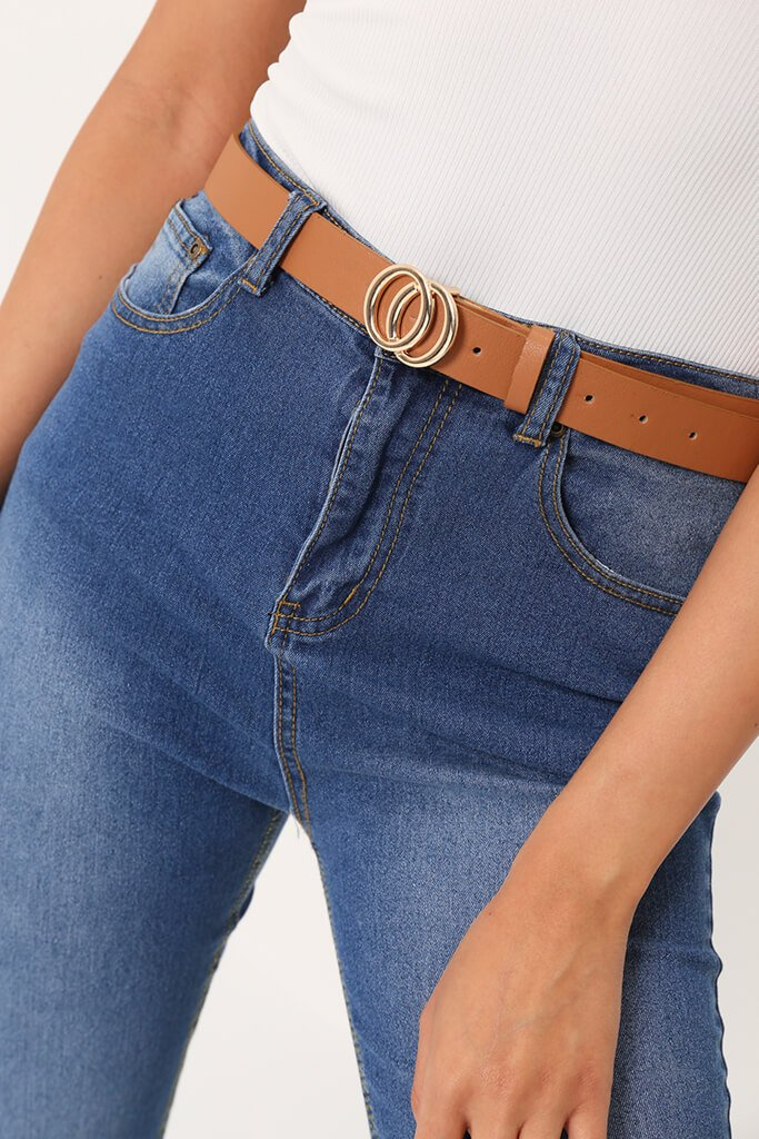 Tan Small Double Circle Belt