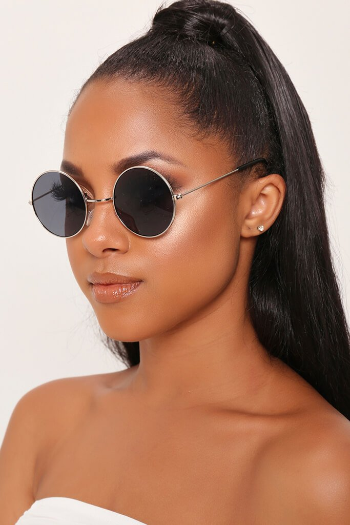 Silver Frame Small Round Sunglasses