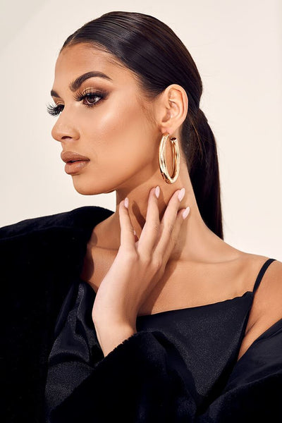 Gold Thick Oversized Hoop Earrings