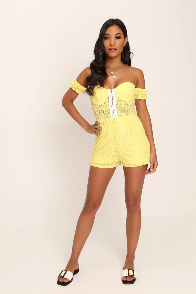 Lemon Hook And Eye Lace Playsuit view 2