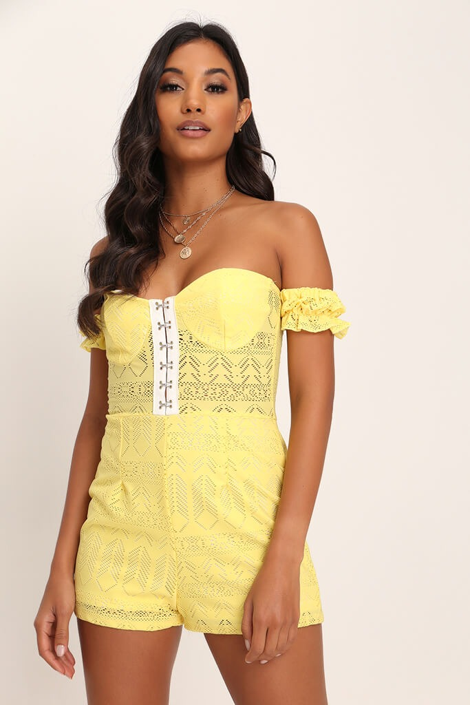 Lemon Hook And Eye Lace Playsuit view main view