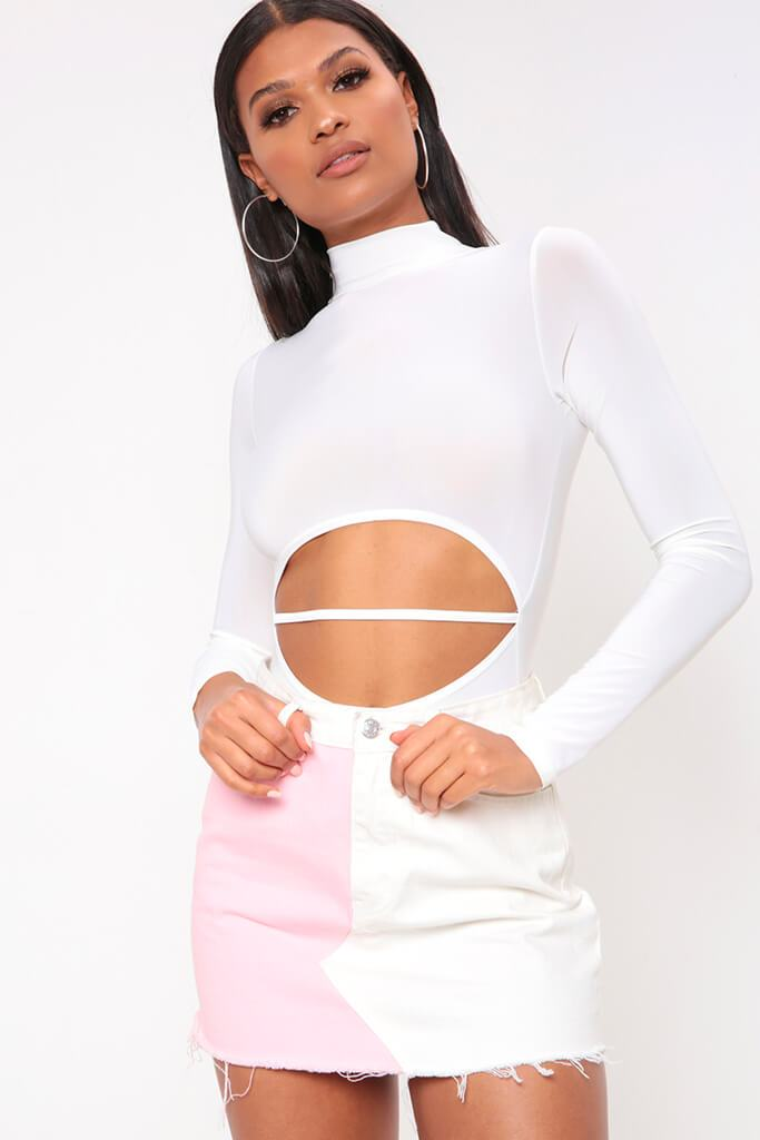 White Colour Block Denim Mini Skirt