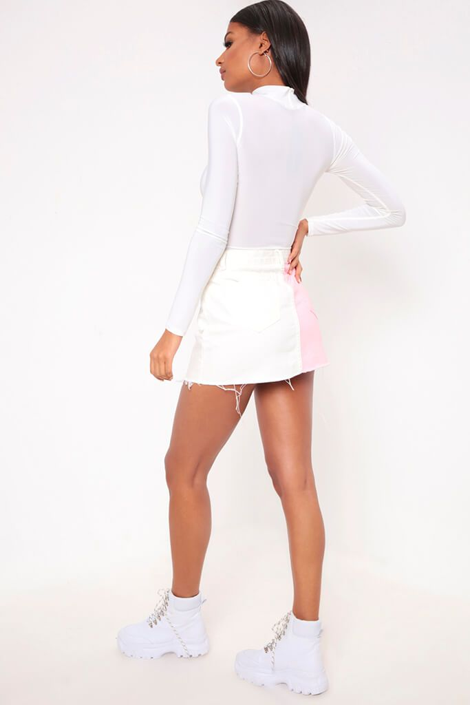 White Colour Block Denim Mini Skirt view 5