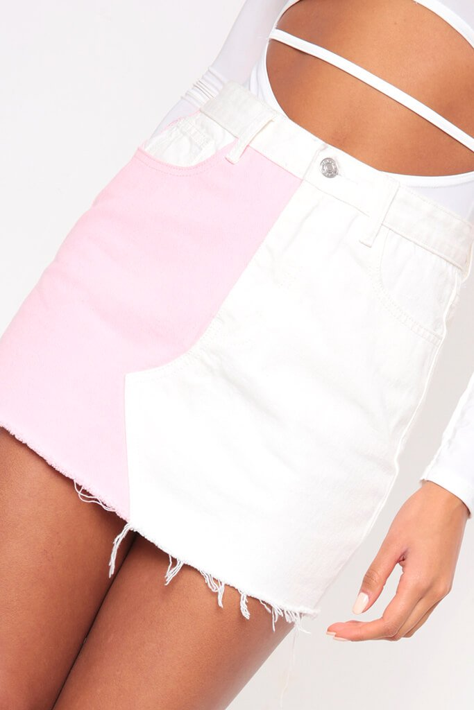 White Colour Block Denim Mini Skirt view 4