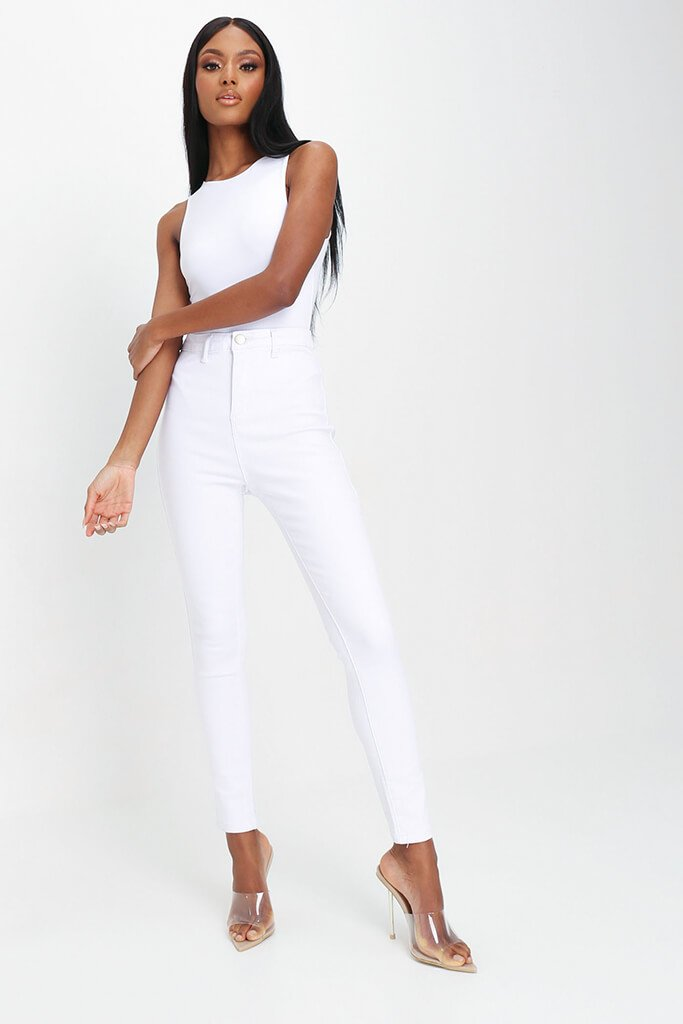 White High Waisted Disco Skinny Jeans