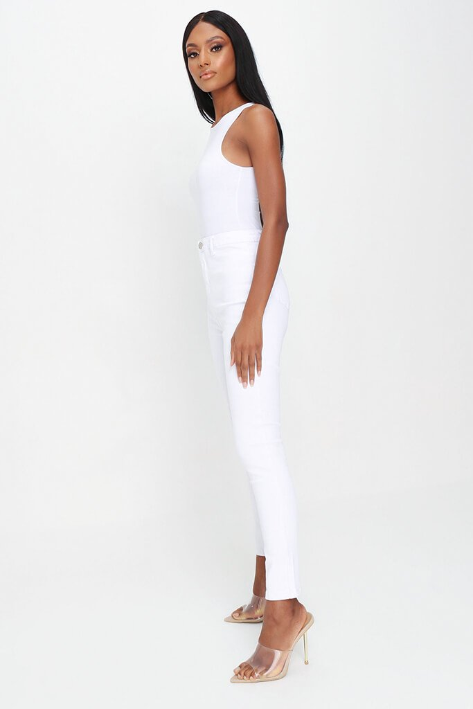 White High Waisted Disco Skinny Jeans view 3