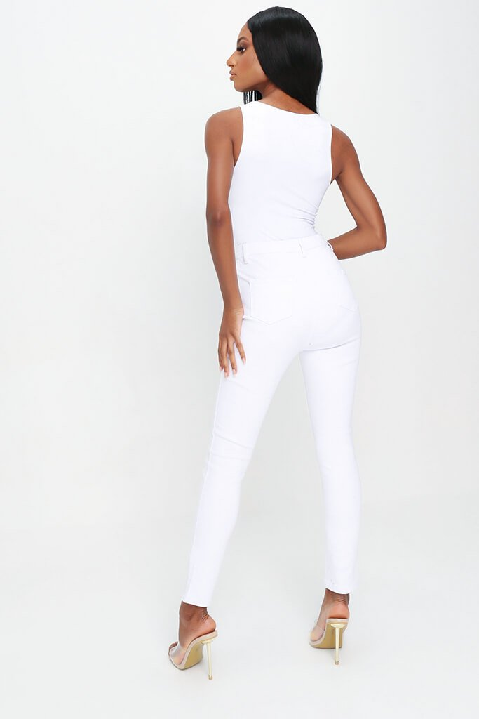 White High Waisted Disco Skinny Jeans view 5