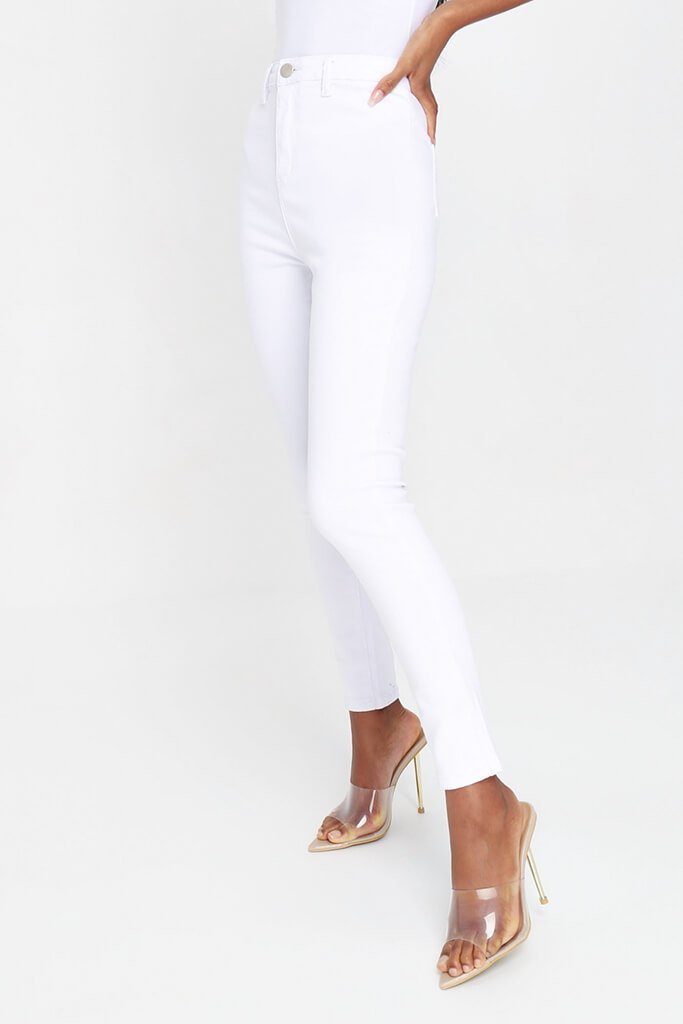 White High Waisted Disco Skinny Jeans view 2