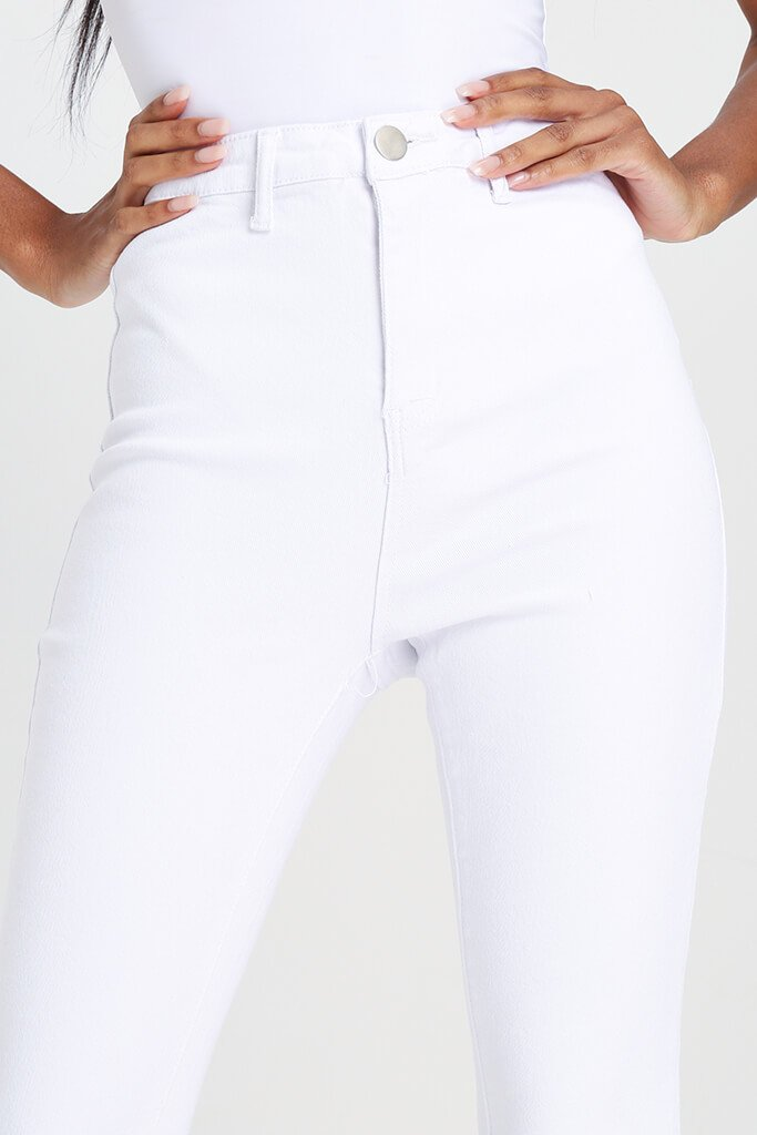 White High Waisted Disco Skinny Jeans view 4