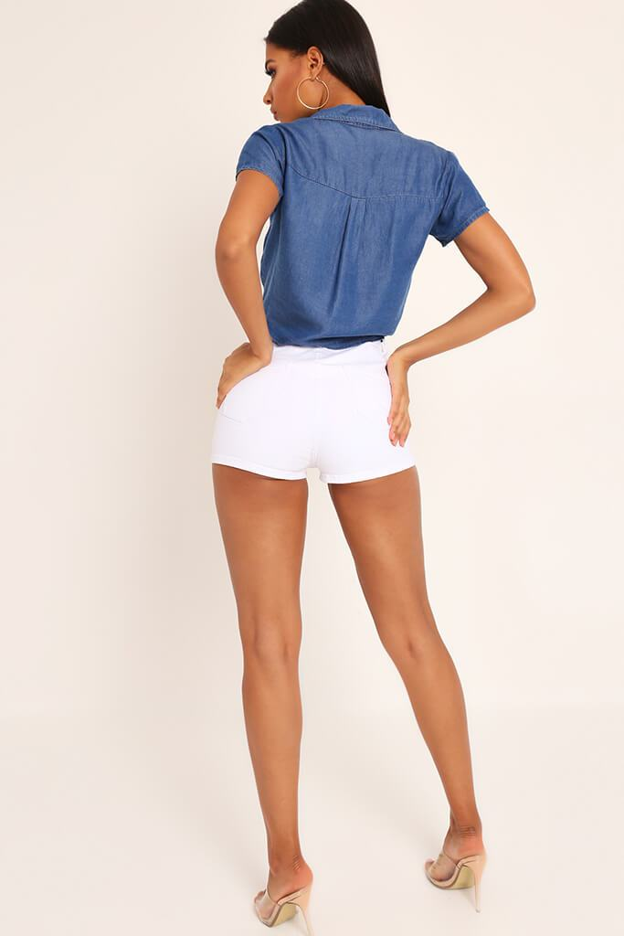 White Highwaisted Disco Hot Pants view 5
