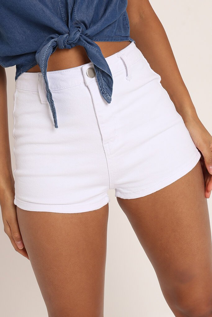White Highwaisted Disco Hot Pants view 4