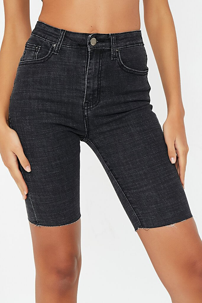 Dark Wash Denim Cycling Shorts view 4