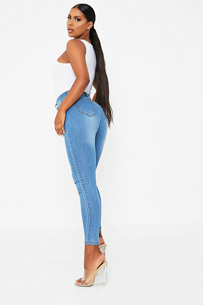 Blue Stretch High Waisted Blue Jeans view 3