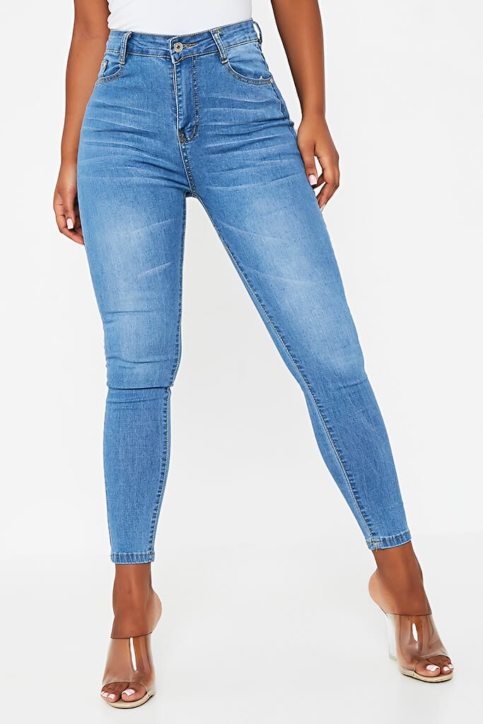 Blue Stretch High Waisted Blue Jeans view 2