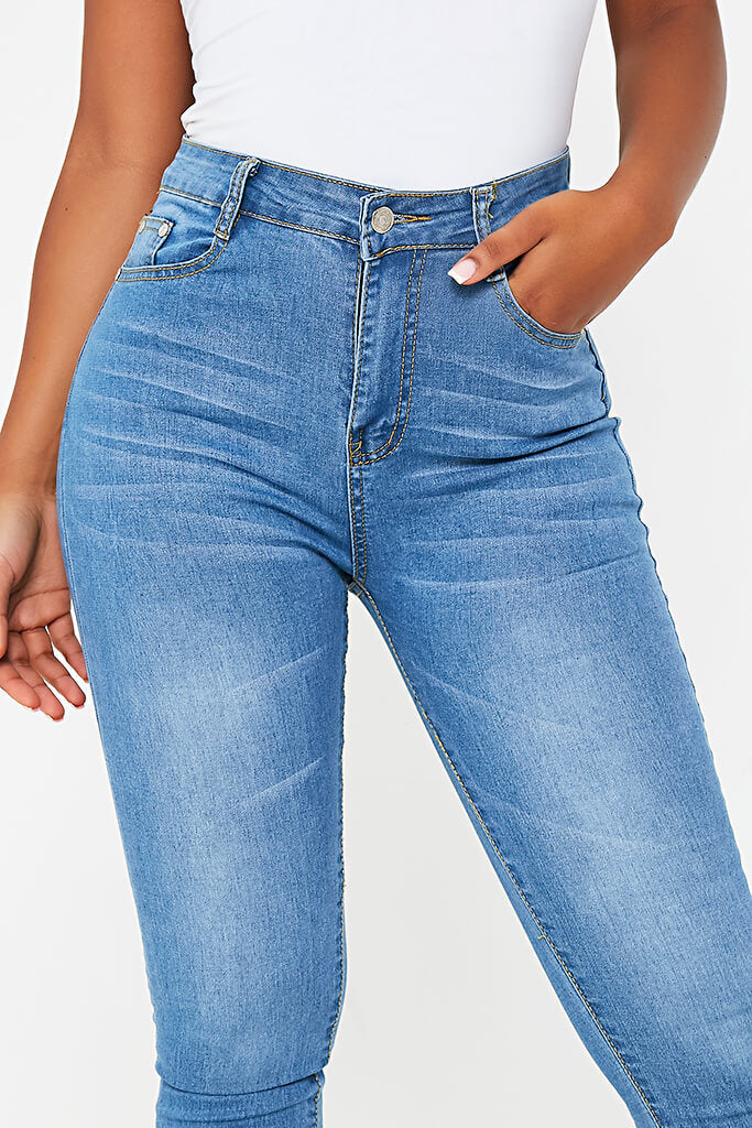 Blue Stretch High Waisted Blue Jeans view 4