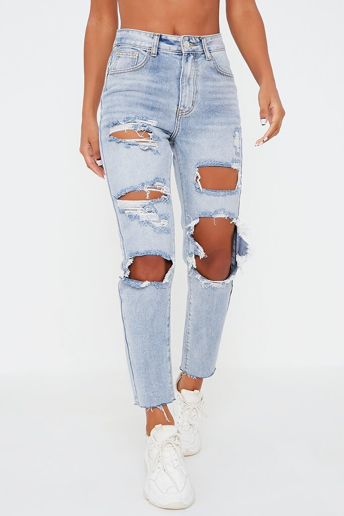 Light Wash Distressed Boyfriend Jeans view 2