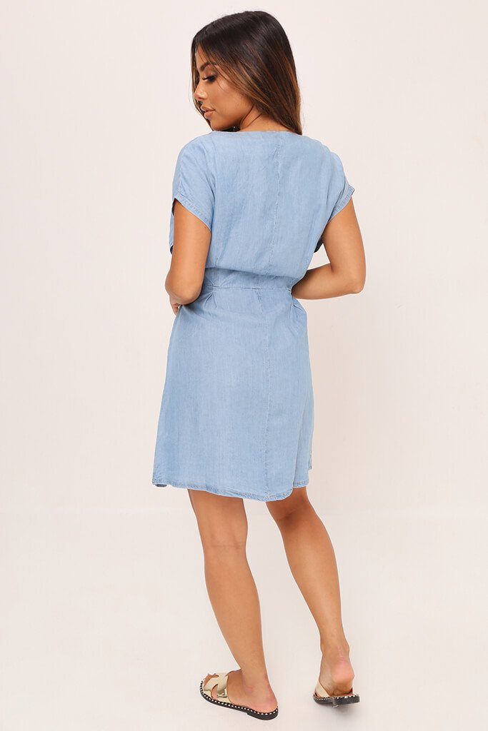 Light Wash Denim Short Sleeve Belted Dress view 5