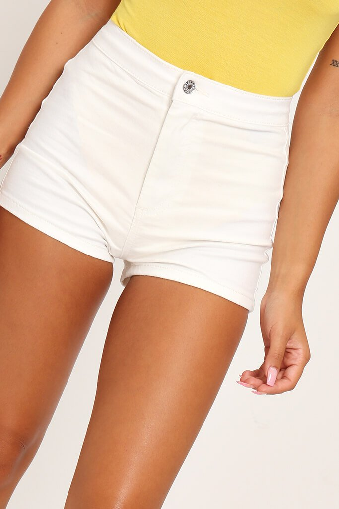 White Mini Shorts view 4