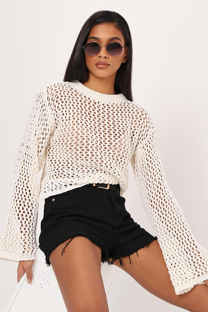 Cream Crochet Flare Sleeve Top view 2