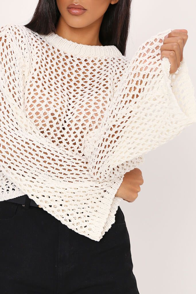 Cream Crochet Flare Sleeve Top view 4