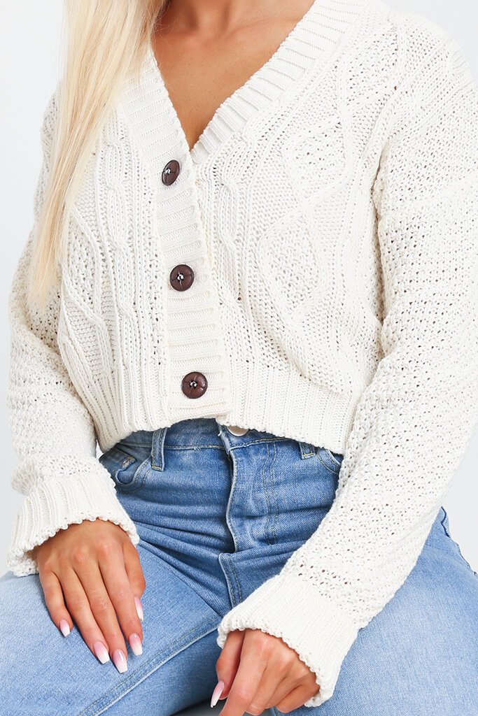 Cream Button Through Cable Knit Cardigan view 4