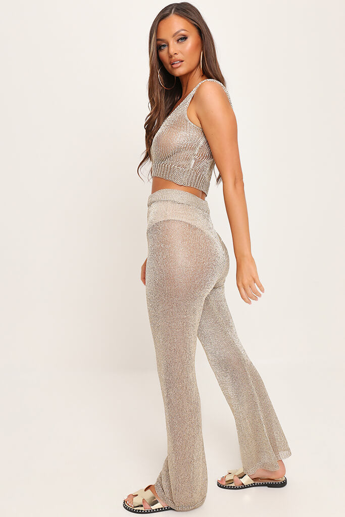 Gold Metallic Knit High Waisted Trousers view 3