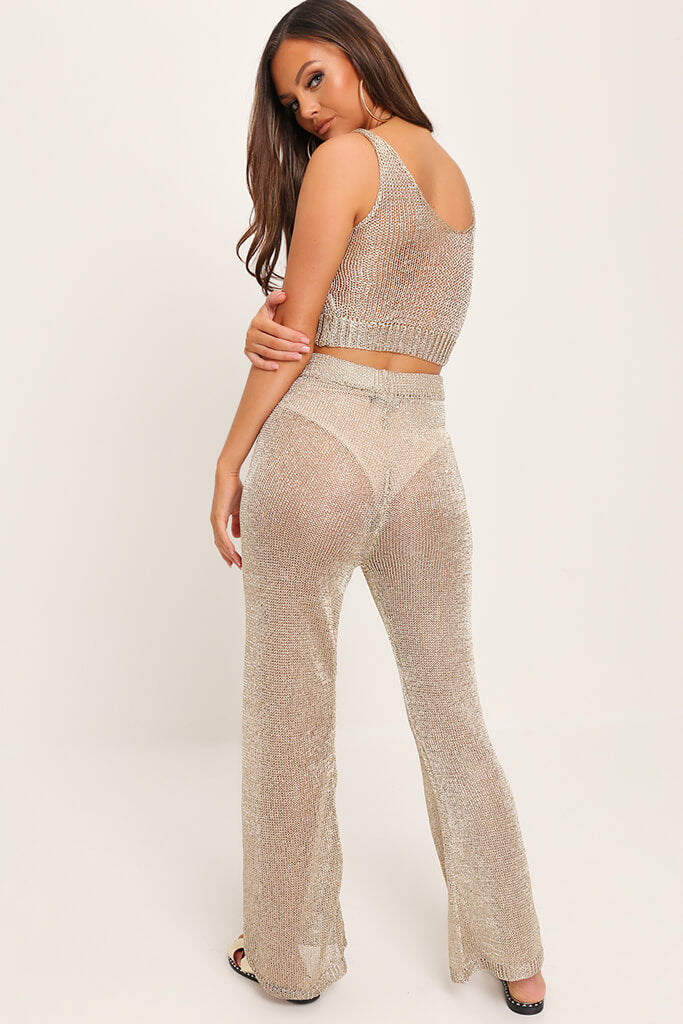 Gold Metallic Knit High Waisted Trousers view 5