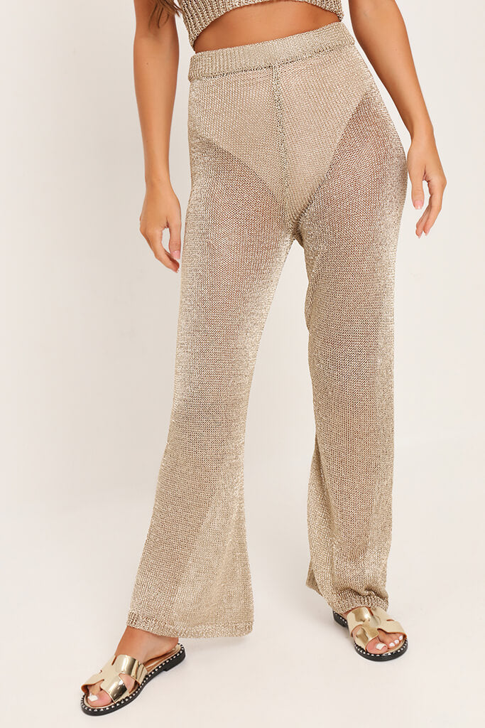 Gold Metallic Knit High Waisted Trousers view 2