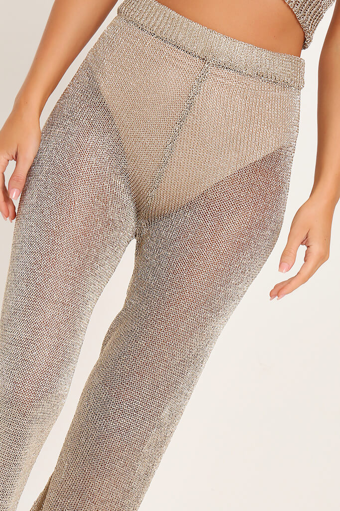 Gold Metallic Knit High Waisted Trousers view 4