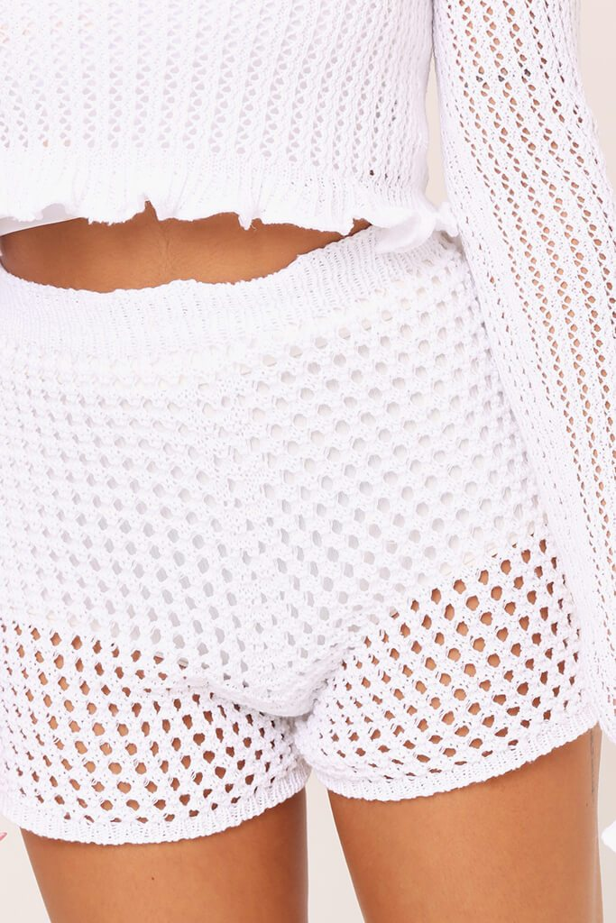 Cream Crochet Shorts view 4