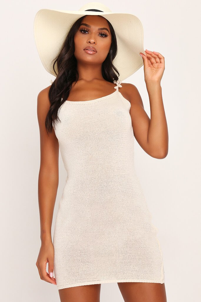 Cream Crochet Tie Shoulder Mini Dress