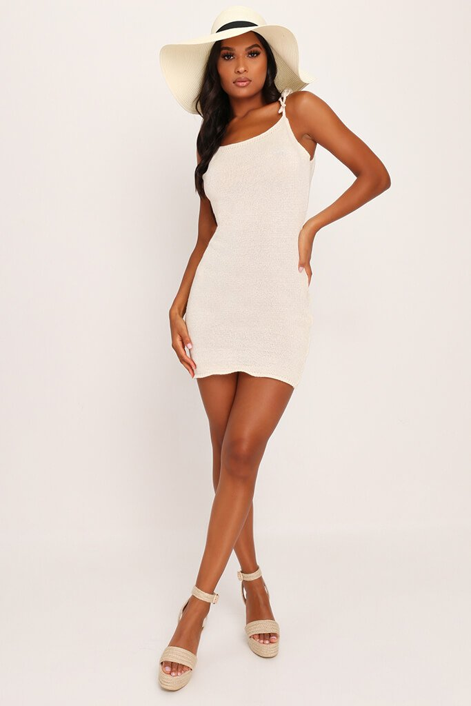Cream Crochet Tie Shoulder Mini Dress view 2