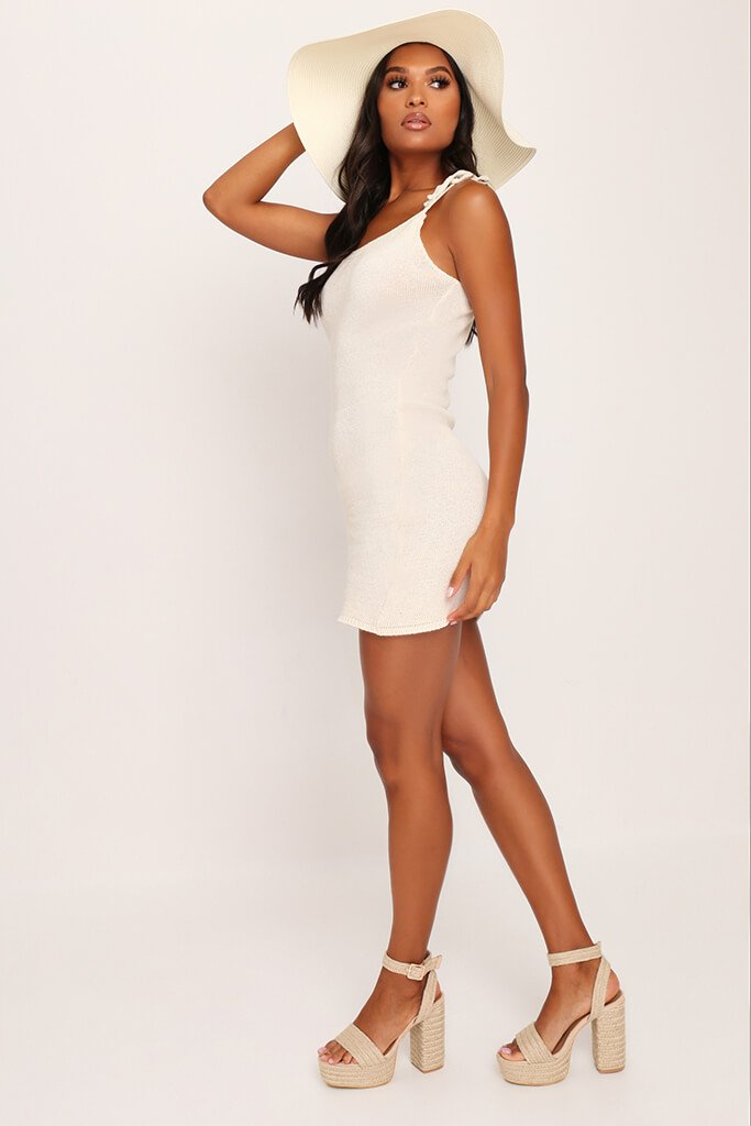 Cream Crochet Tie Shoulder Mini Dress view 3