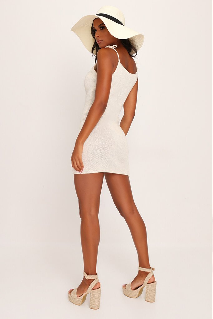 Cream Crochet Tie Shoulder Mini Dress view 5
