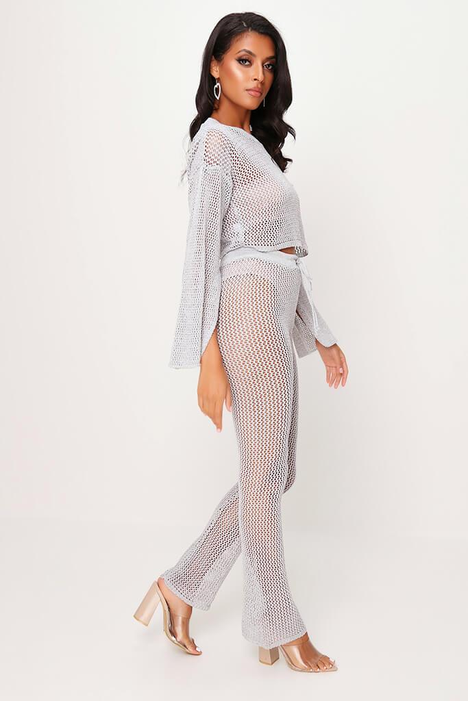 Silver Lurex Knitted Flared Trousers view 3