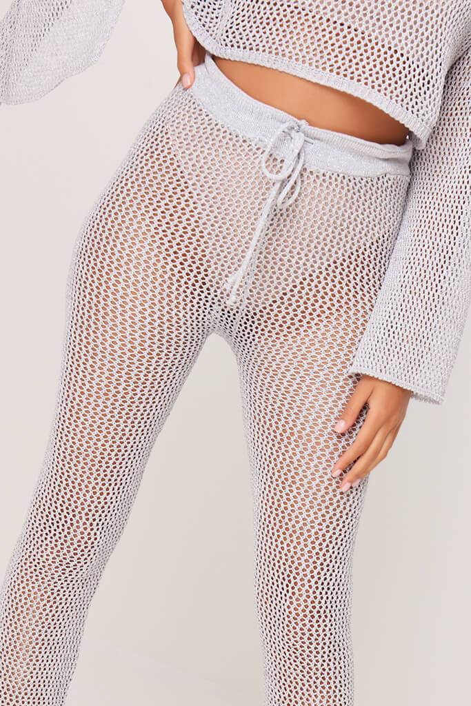 Silver Lurex Knitted Flared Trousers view 4