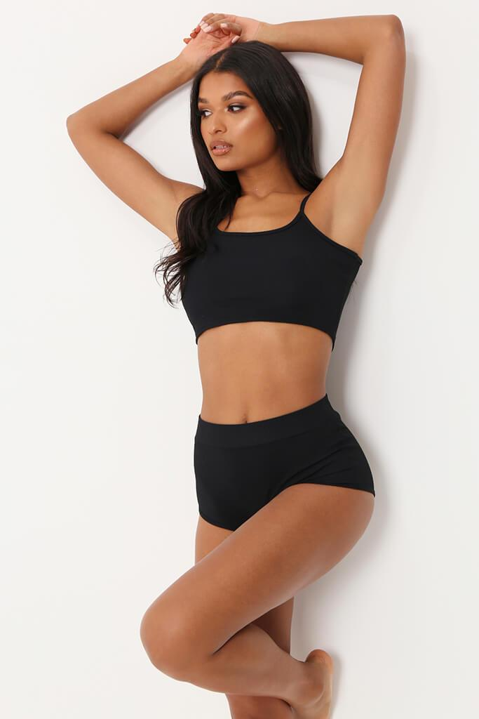 Black Ribbed Bralet & High Waisted Briefs Set