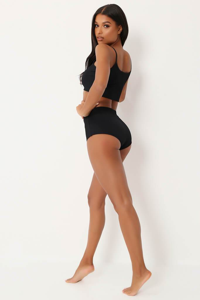 Black Ribbed Bralet & High Waisted Briefs Set view 5