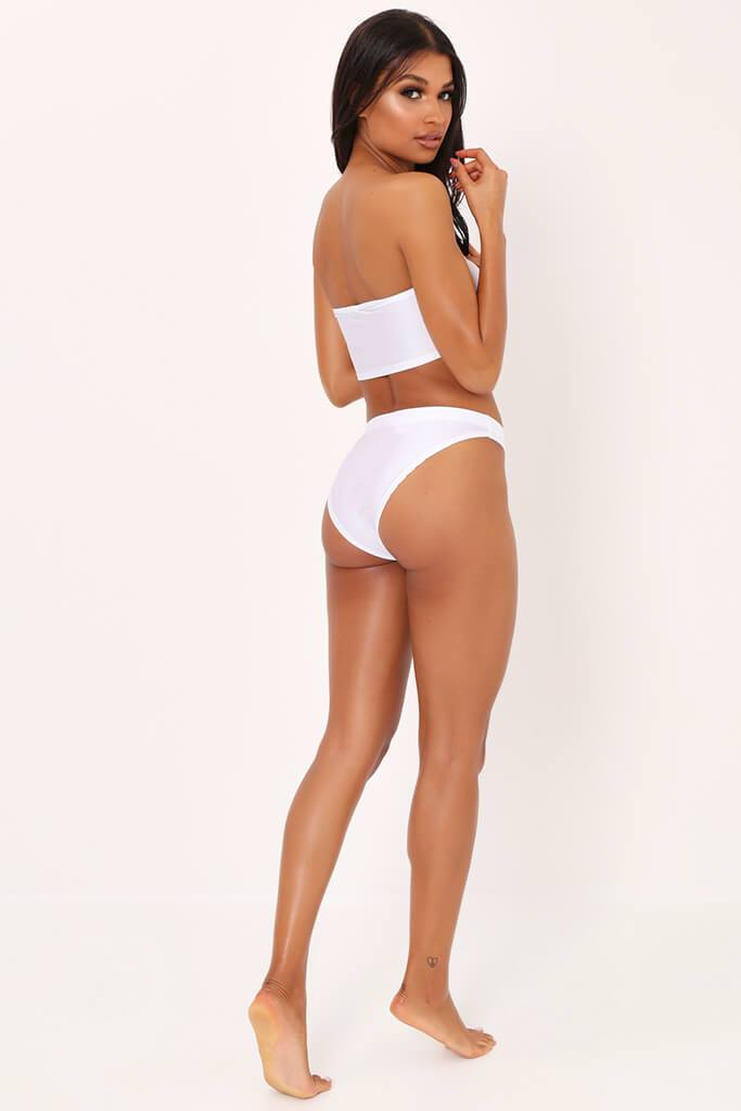 White Bandeau Bra And High Leg Briefs Set view 5