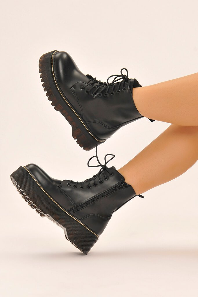 Black Platform Military Lace Up Boots view 2