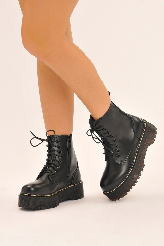 Black Platform Military Lace Up Boots