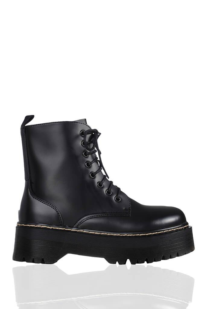 Black Platform Military Lace Up Boots view 3