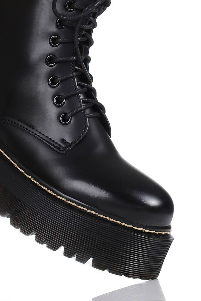 Black Platform Military Lace Up Boots view 4