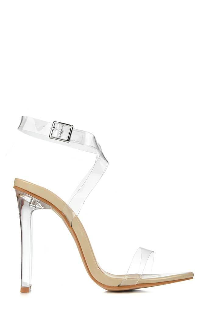 Nude Perspex High Heels With Flat Heel view 3