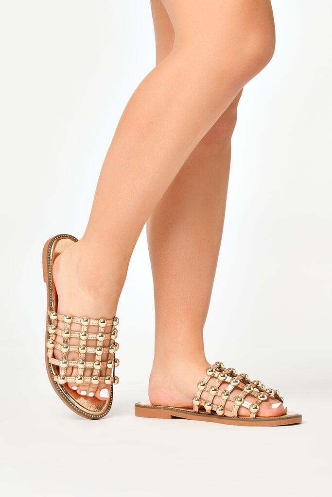Rose Gold Studded Sandals