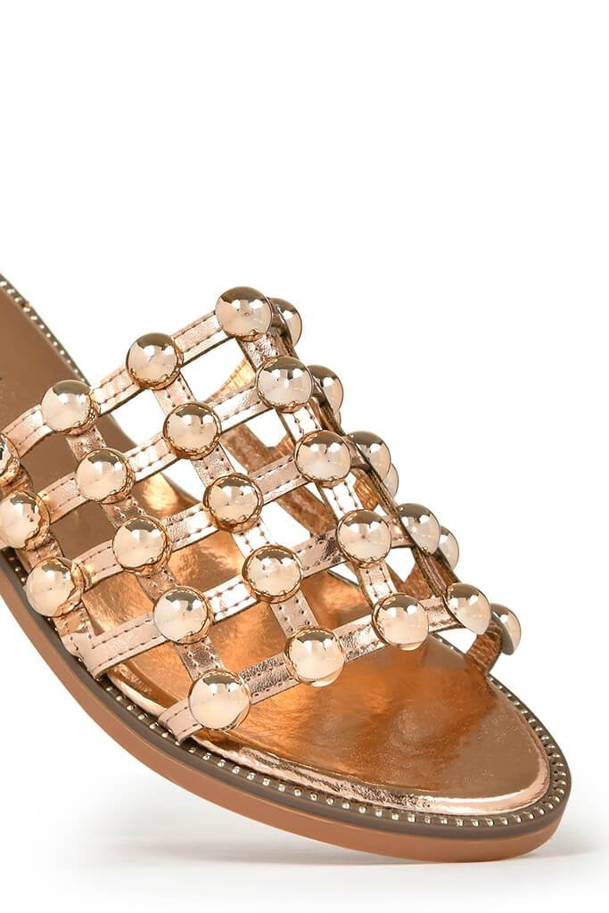 Rose Gold Studded Sandals view 4
