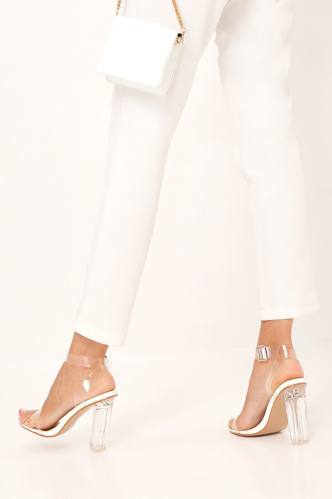 White Clear Strap And Perspex Block Heel Sandals view 3